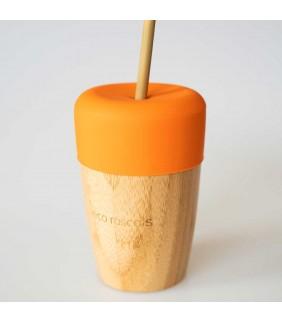 Vaso bamboo 240ml con tapa y 2 pajitas eco rascals